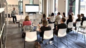 Presentation of data protection at Amdaris Bristol office.