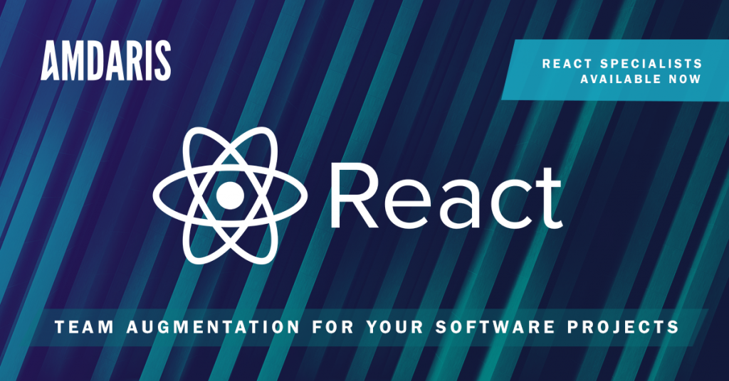 Banner advertising Amdaris React developer specialists