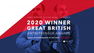 Amdaris celebrate winning Scale-Up Entrepreneurs of the Year for the south west at the Great British Entrepreneur Awards